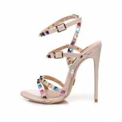GRENADA nude high heel sandals with colorful studs