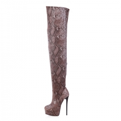 Giaro bronze snakeskin flexible over knee high heel platform boots