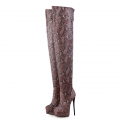 GALANA bronze snakeskin flexible over knee high heel platform boots