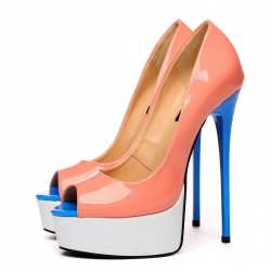 Giaro GALANA peep toe nude white blue stiletto pumps