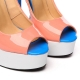 GALANA peep toe nude white blue stiletto pumps