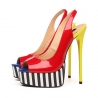 GALANA peep toe colorful stiletto sandals