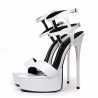 GALANA white shiny stiletto sandals with double ankle straps