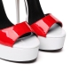 GALANA red and white high heel sandals with ankle strap