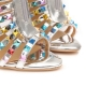 HONDURAS Multicolor Studded Ankle Liquid Silver Boots