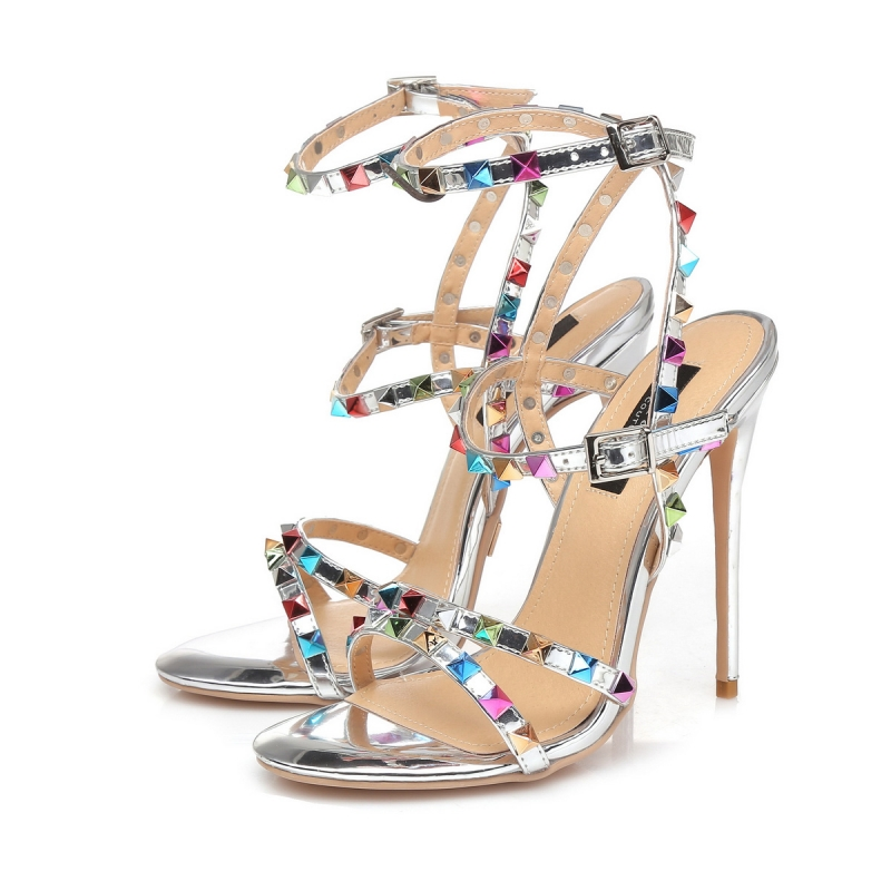 GRENADA liquid silver high heel sandals with multicolor studs
