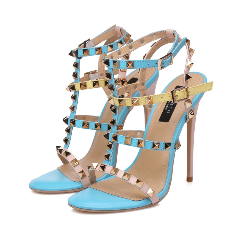 669809cea GANESHA colorful strappy high hill sandals with gold studs