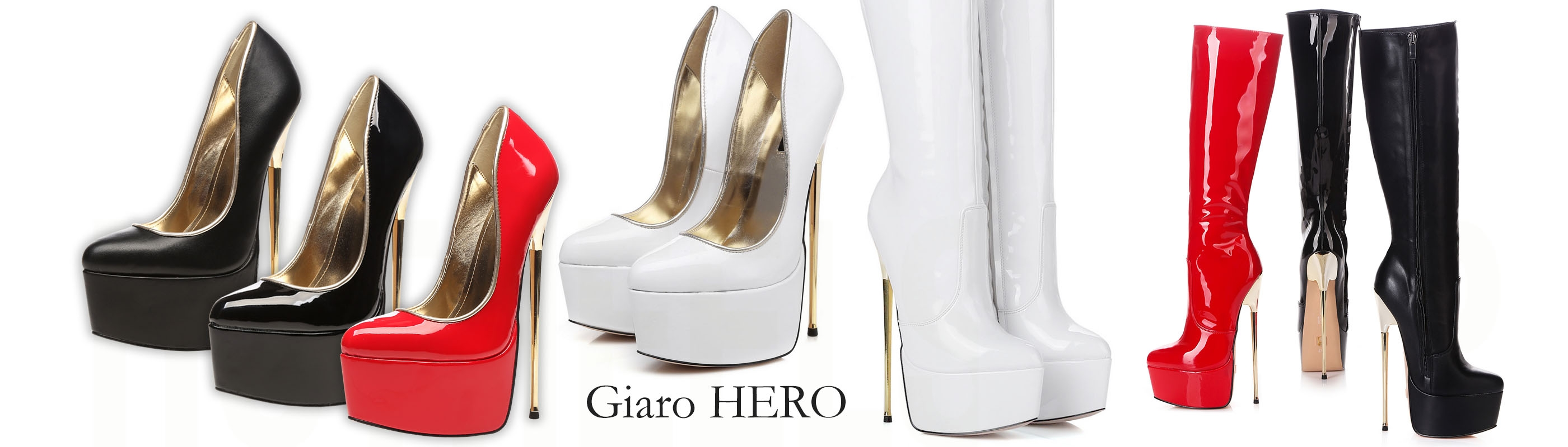 Giaro HERO gold fetish high heels, overknee boots, pumps, knee high boots